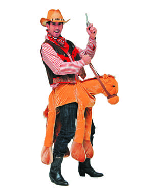 Maskeraddräkt cowboy på häst för vuxen
