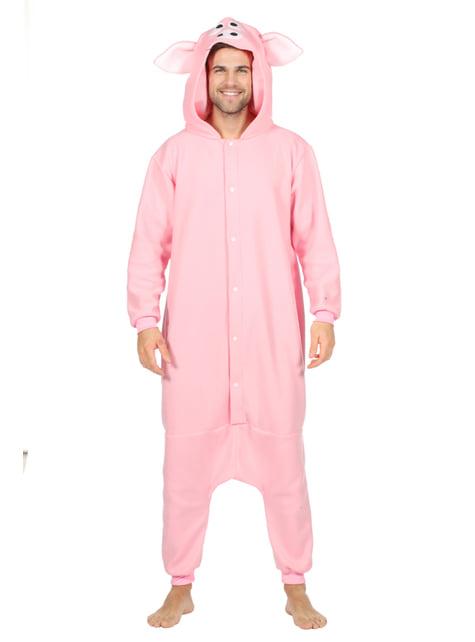 Disfraz de cerdo onesie para adulto - adulto