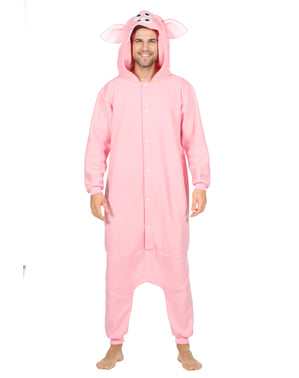 Pig onesie costume for adults
