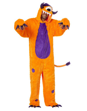 Fato de monstro Ciclope cor de laranja para adulto