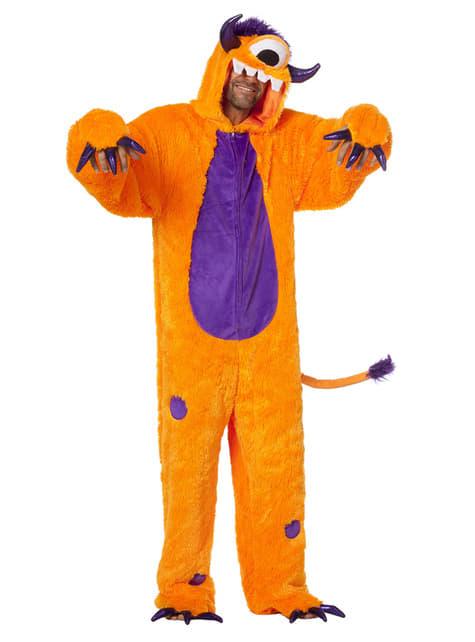 Disfraz de monstruo Cíclope naranja para adulto