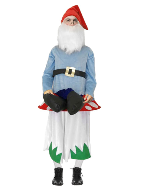 Gnome sat on a mushroom ride on costume for adults