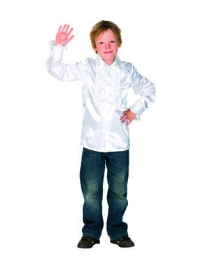व्हाइट 70 डिस्को शर्ट बच्चों के लिए
