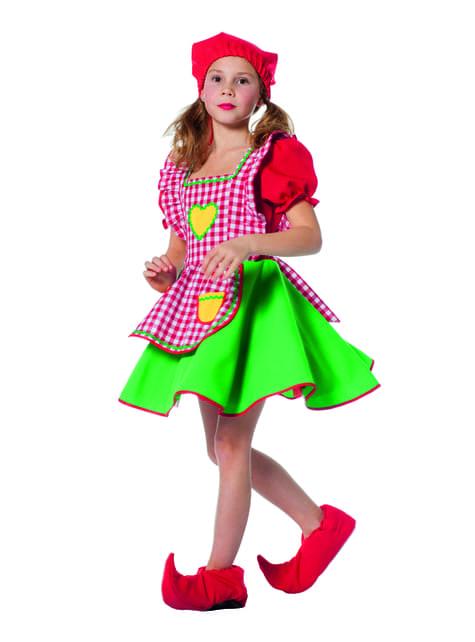 Disfraz de duende rojo apra niña - niña