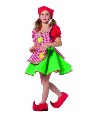 Rød alv forkle kostyme til jenter