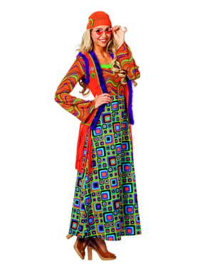 Kadınlar için turuncu hippi kostümü