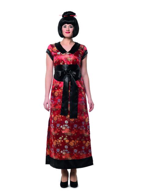 Rødt geisha kostume til kvinder