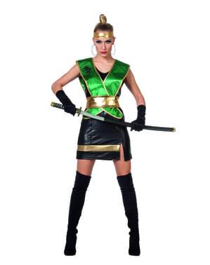 Maskeraddräkt ninja grön dam