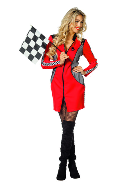 Red race car driver costume for women