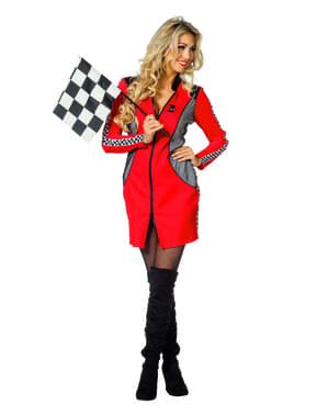 Fato de piloto de corridas vermelho para mulher