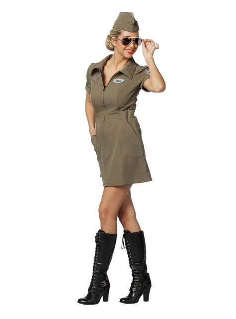 Green ariel pilot costume for women