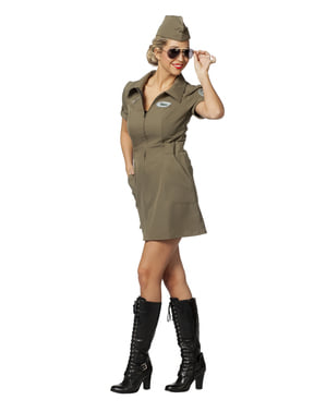 Flugzeugpilto Kostüm grün für Damen