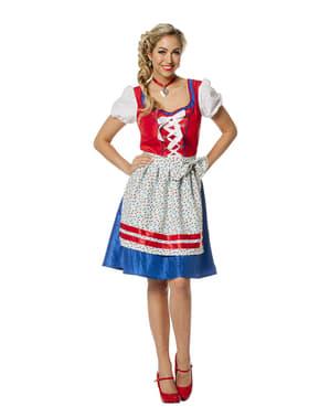 Rød Oktoberfest kostyme til dame