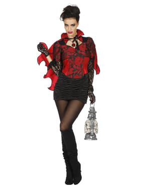 Fato de vampiro vermelho para mulher