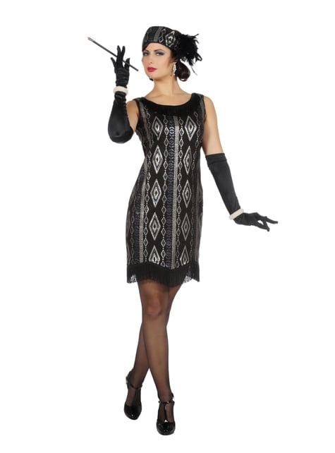 Zwart silver Charleston kostuum voor vrouw