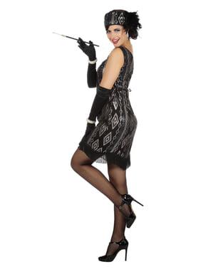 女性のための黒と銀のチャールストン衣装