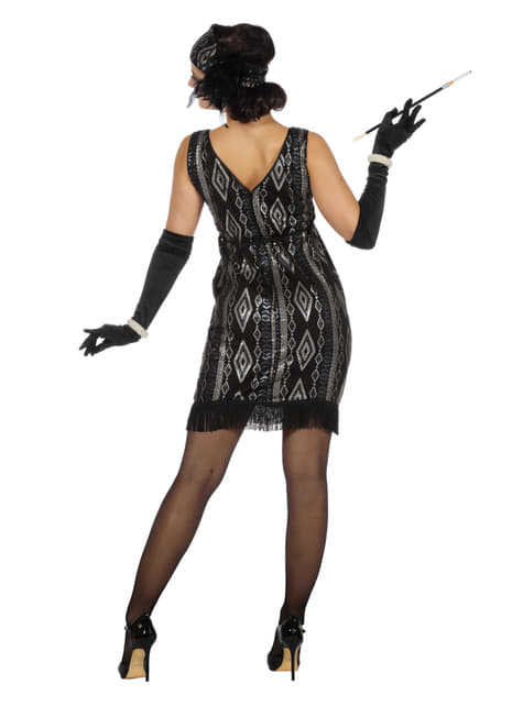 Black and silver Charleston costume for women