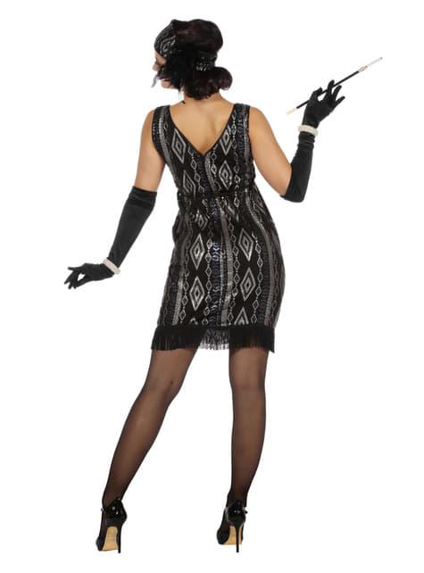 Disfraz de charlestón negro y plateado para mujer - original