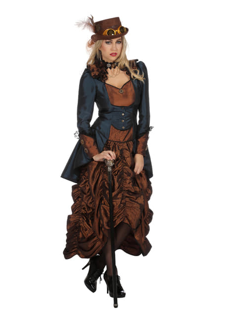 Disfraz de steampunk marrón para mujer