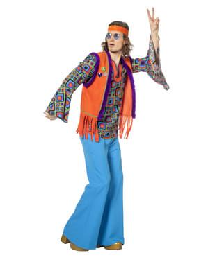 Maskeraddräkt hippie orange vuxen