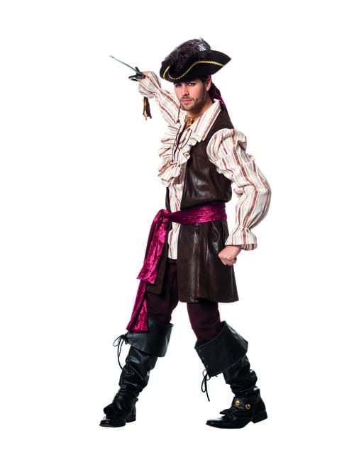 Brown pirate costume for men