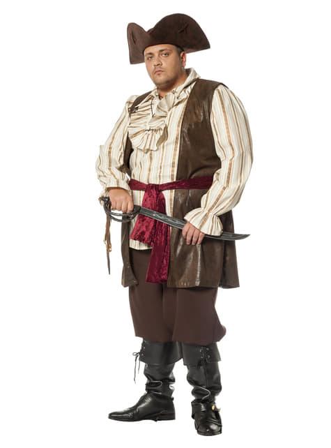 Maskeraddräkt pirat brun vuxen