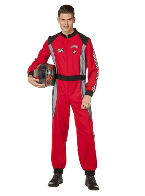 Disfraz de piloto automovilístico rojo para hombre