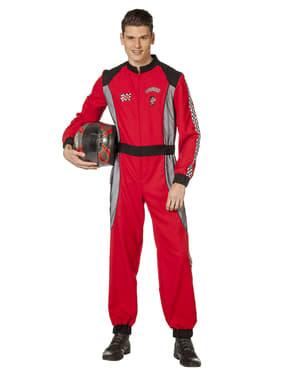 Disfarce de piloto de corridas vermelho para homem