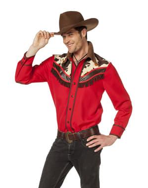 Camisa de cowboy vermelha para homem