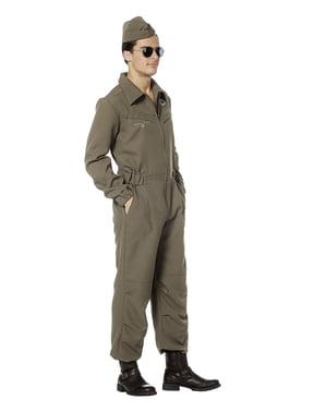 Disfraz de piloto aéreo verde para hombre
