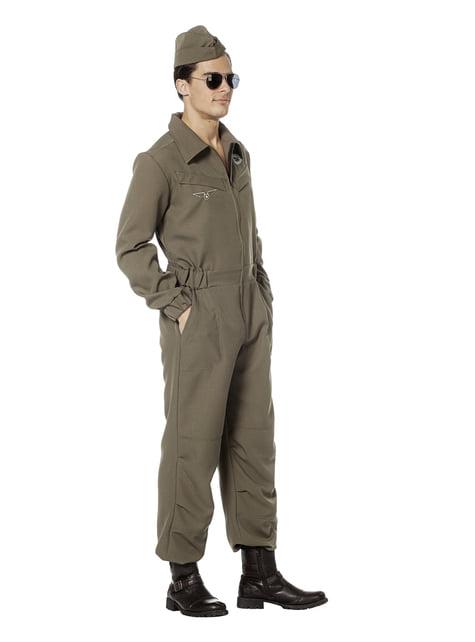 Disfraz de piloto aéreo verde para hombre - hombre