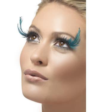 Cils avec des plumes de couleur turquoise
