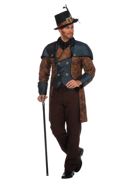 Blue steampunk costume for men