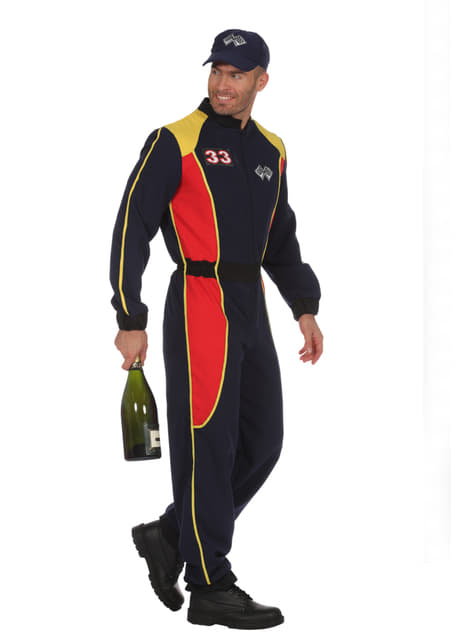 Blue race car driver costume for men