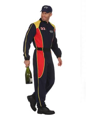 Fato de piloto de corridas azul para homem