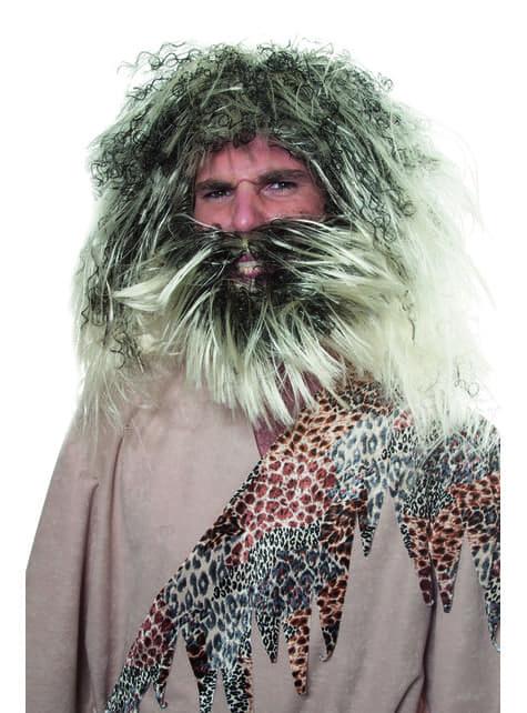 Grey caveman wig for men