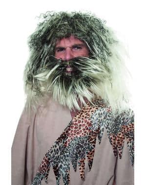 Parrucca da cavernicola grigia per uomo