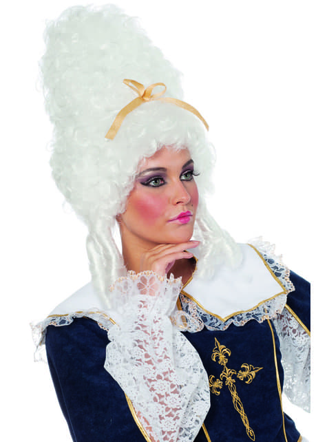 Peluca barroca blanca de emperatriz para mujer