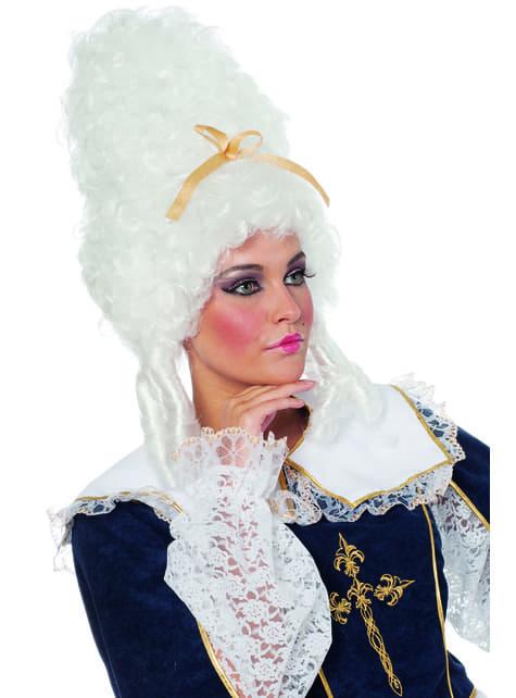 Peruca barroca branca de imperatriz para mulher
