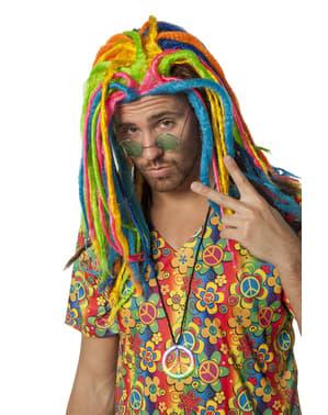 Flerfarvet rastafari paryk til voksne