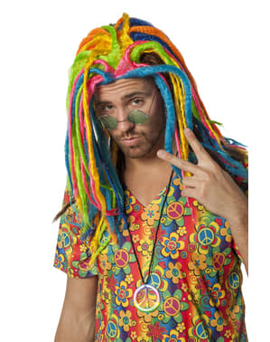 Multicolour rastafarian wig for adults