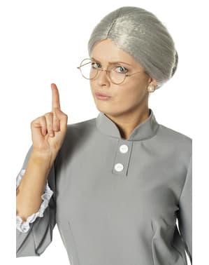 Grijze oma pruik voor vrouw kostuum voor vrouw