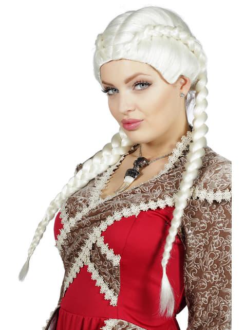 Peluca de trenzas blanca para mujer