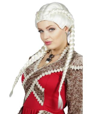 Valkoinen letitetty peruukki naisille