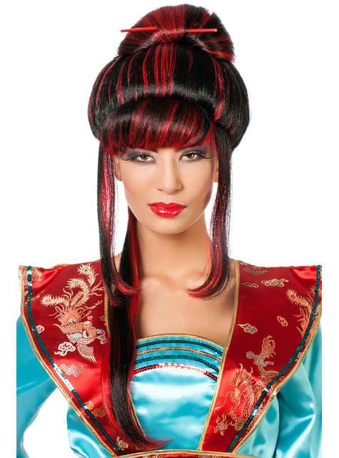 Peluca de geisha con palillos roja para mujer