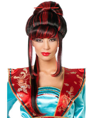 Kırmızı saçlar ile geyşa peruk kadınlar için