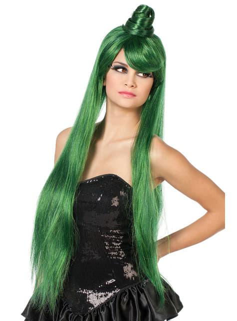 Long green geisha wig for women