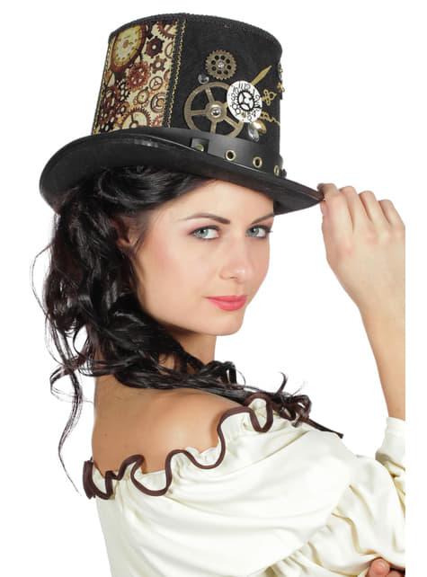 Sombrero de steampunk marrón para adulto