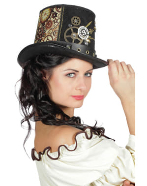 Brun steampunk top hat til voksne