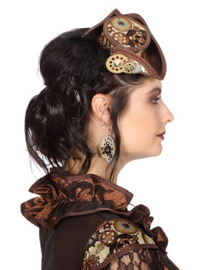 Small brown Steampunk hat for adults